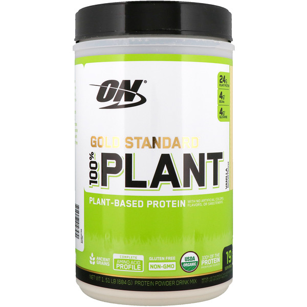 Optimum Nutrition, Gold Standard, 100% Plant-Based Protein, Vanilla, 1.51 lbs (684 g)