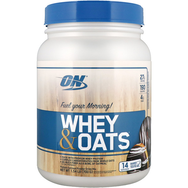 Optimum Nutrition, Whey & Oats, Chocolate Glazed Donut , 1.54 lb (700 g)