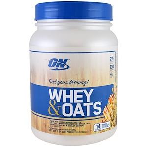 Optimum Nutrition, Сыворотка и овес, ванильно-миндальное печенье, 1,54 фунта (700 г)
