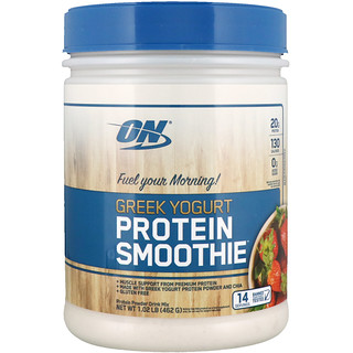 Optimum Nutrition, ギリシャヨーグルト、プロテインスムージー、ストロベリー、1.02 lb (462 g)