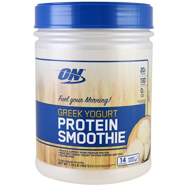 Optimum Nutrition, Греческий йогурт, фруктовый коктейль, ваниль, 1,02 фунта (462 г) (Discontinued Item)