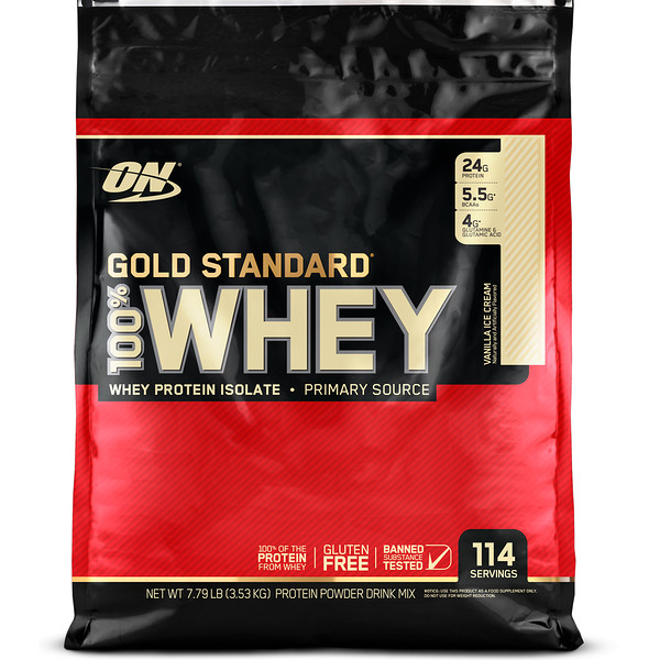 Optimum Nutrition, Gold Standard, 100% Whey, Vanilla Ice Cream, 7.79 lb (3.53 kg)