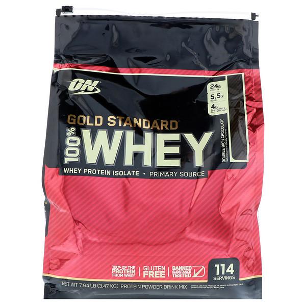 Optimum Nutrition, ゴールド スタンダード、100%ホエイ、ダブル リッチ チョコレート、7.64 lb (3.47 kg)