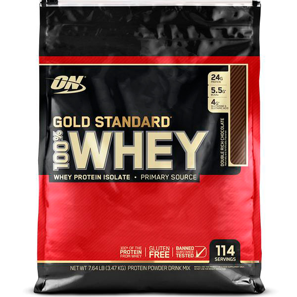 Optimum Nutrition, Estándar dorado, 100 % suero de lechem Chocolate doble rico, 7.64 lb (3.47 kg)