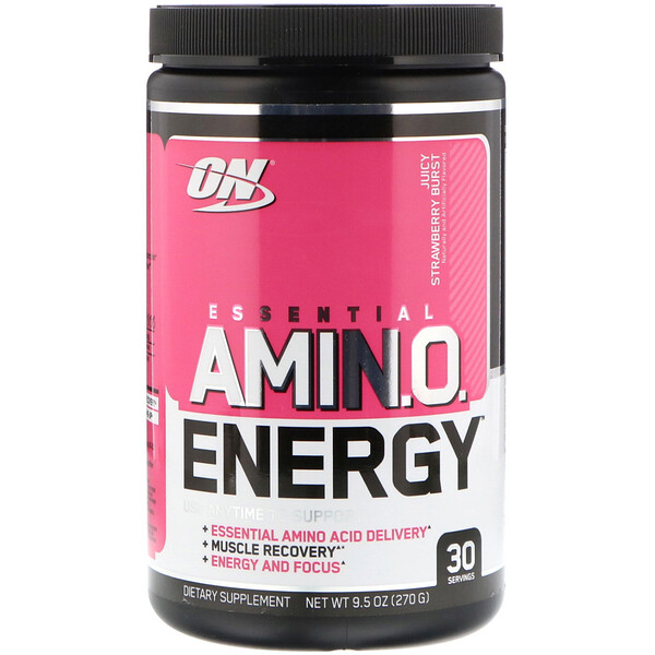 Optimum Nutrition, ESSENTIAL AMIN.O. ENERGY, Juicy Strawberry Burst, 9.5 oz (270 g)
