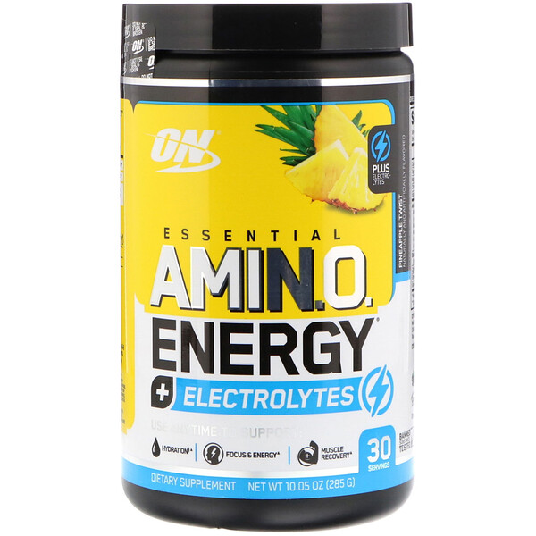 Optimum Nutrition, ESSENTIAL AMIN.O. ENERGY + ELECTROLYTES, Pineapple Twist, 10.05 oz (285 g)