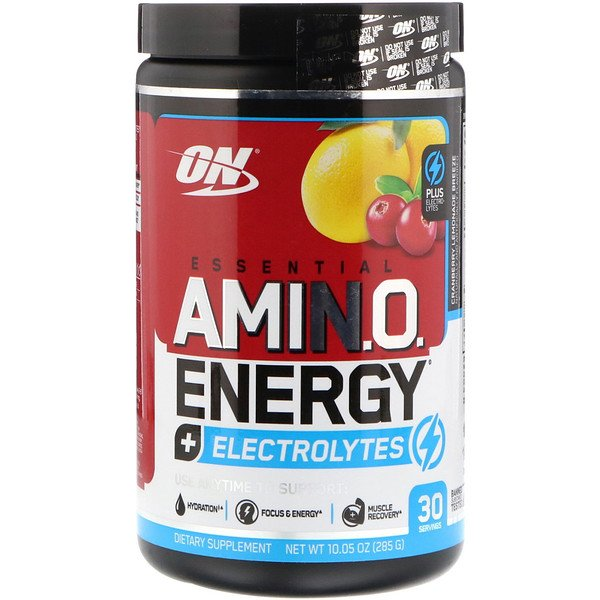 Optimum Nutrition, Essential Amin.O. Energy + Electrolytes, Cranberry Lemonade Breeze, 10.05 oz (285 g)