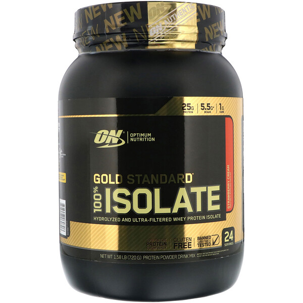 Optimum Nutrition, Gold Standard 100% Isolate, Strawberry Cream, 1.58 lb (720 g) (Discontinued Item)