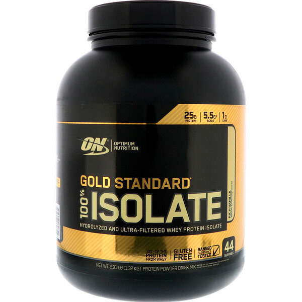 Optimum Nutrition, Gold Standard 100% Isolate, Rich Vanilla, 2.91 lbs (1.32 kg)