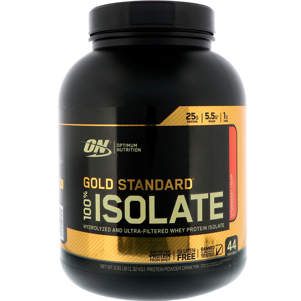 Optimum Nutrition, Gold Standard 100% Isolate, Strawberry Cream, 2.91 lbs (1.32 kg)