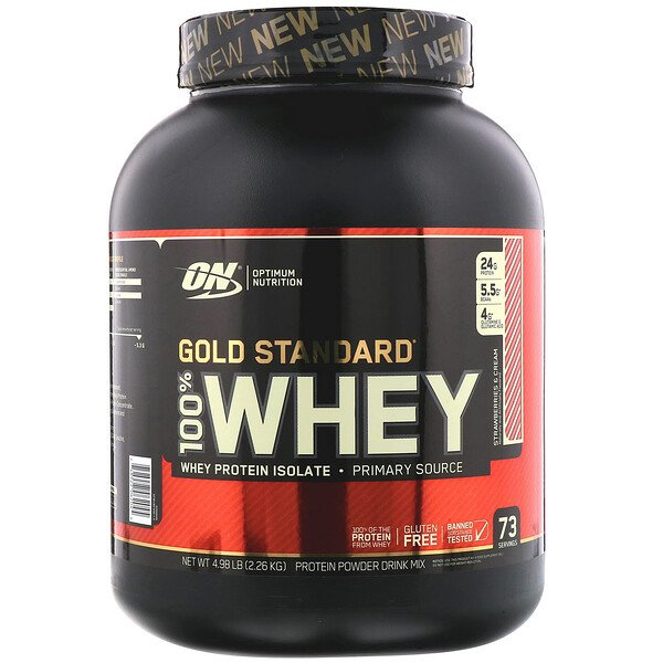 Optimum Nutrition, Gold Standard 100% Whey, Strawberries & Cream, 4.98 lb (2.26 kg)