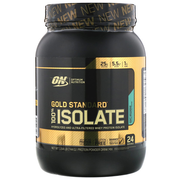 Optimum Nutrition, Gold Standard, 100% Isolate, Mint Brownie, 1.64 lb (744 g)