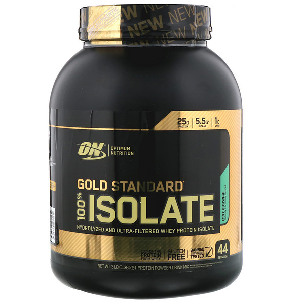 Optimum Nutrition, Gold Standard, 100% Isolate, Mint Brownie, 3 lb (1.36 kg)