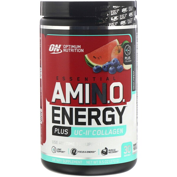 Optimum Nutrition, ESSENTIAL AMIN.O. ENERGY PLUS UC-II COLLAGEN, Fruit Fiesta, 9.5 oz (270 g)