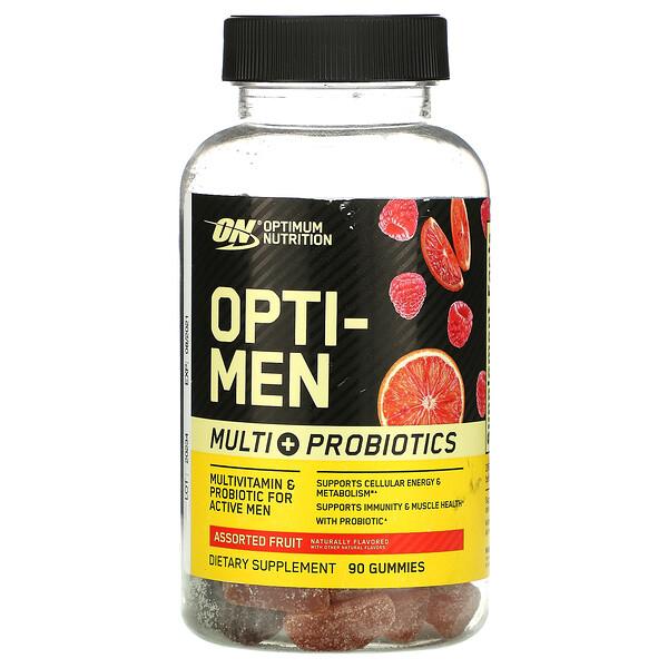 Optimum Nutrition, Opti-Men, Multi+ Probiotics, Assorted Fruit, 90 Gummies