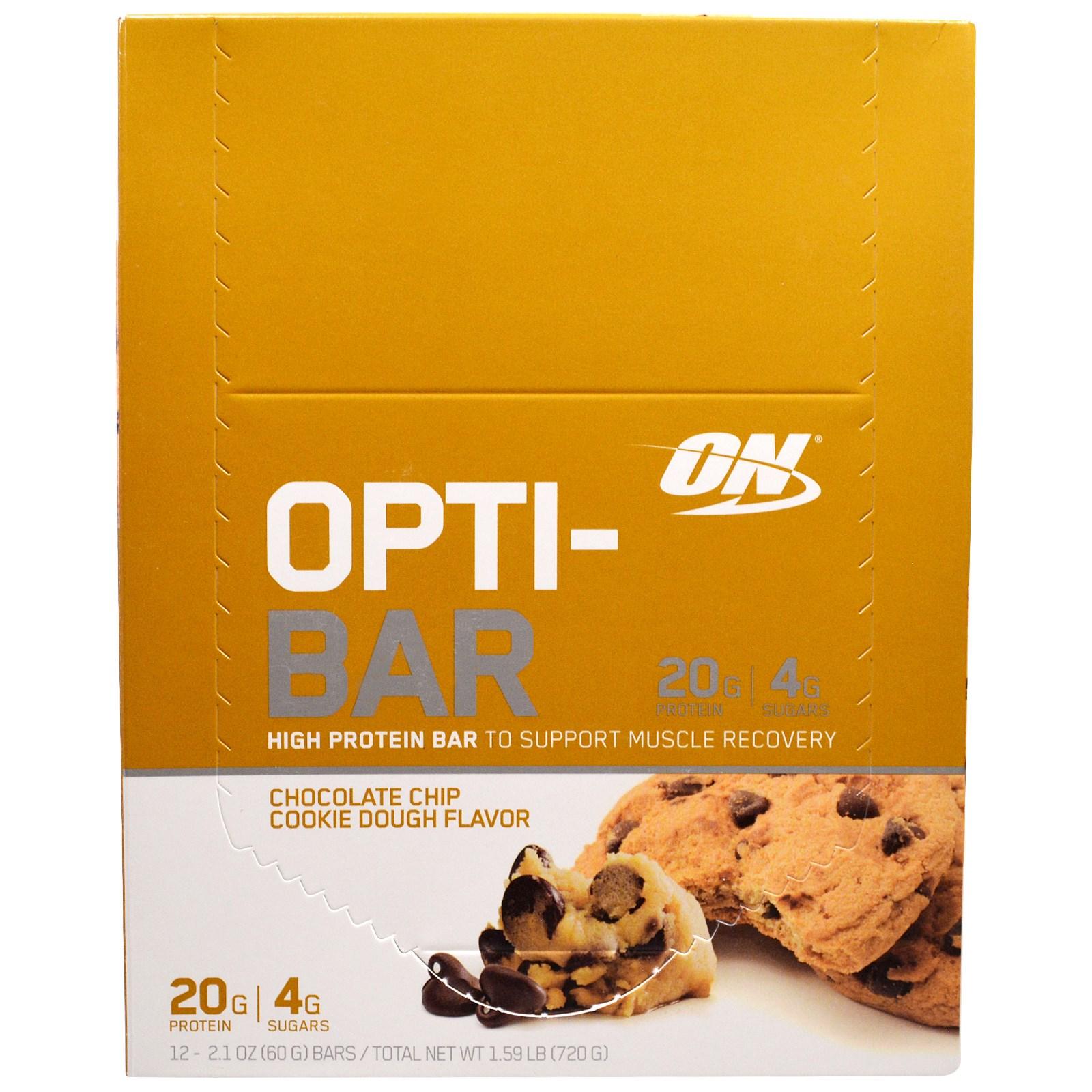 Optimum Nutrition, Высокопротеиновый батончик Opti-Bar, Вкус Печенья с Шоколадной Крошкой, 12 батончиков по 2,1 унции (60г) каждый