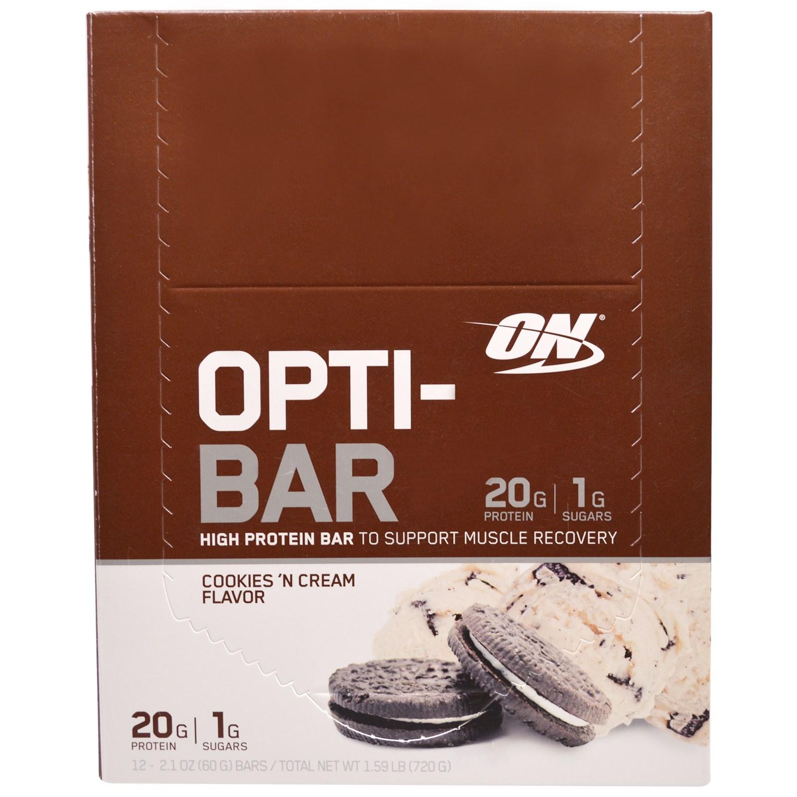 Optimum Nutrition, Высокопротеиновый Батончик Opti-Bar, Вкус Печенья с Кремом, 12 батончиков, по 2,1 унции ( 60г) каждый