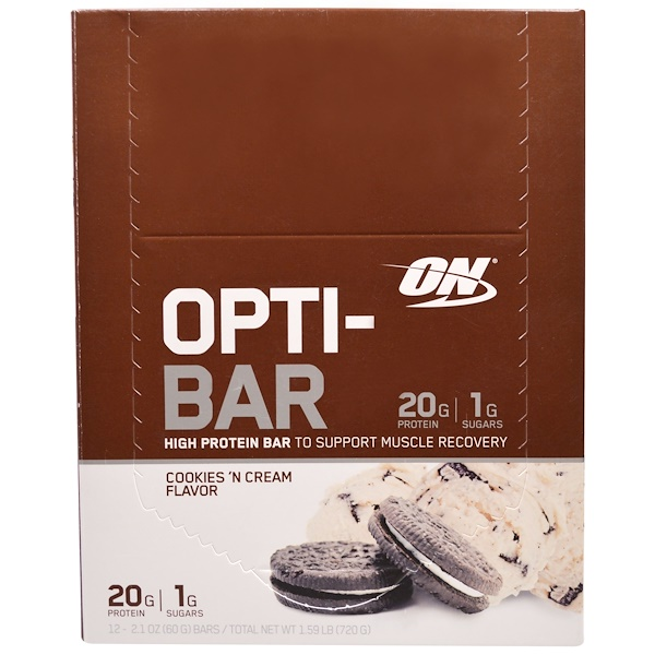 Optimum Nutrition, Opti-Bar High Protein Bar, Cookies n' Cream, 12 Bars - 2.1 oz (60 g) Each (Discontinued Item)