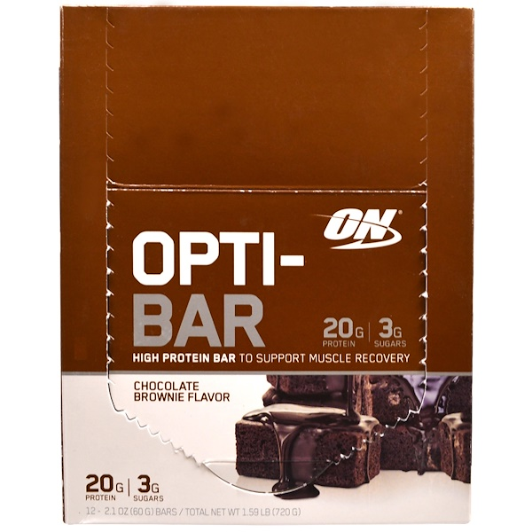 Optimum Nutrition, Opti-Bar High Protein Bar, Chocolate Brownie, 12 Bars, 2.1 oz (60 g) Each (Discontinued Item)