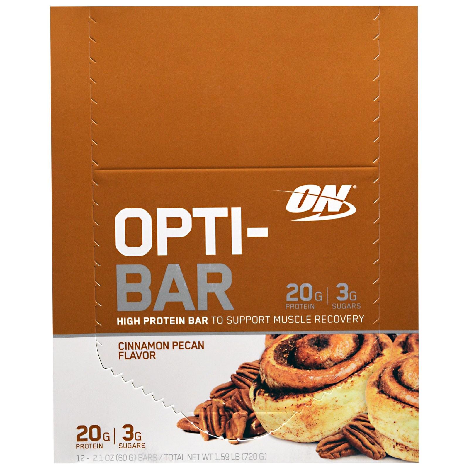 Optimum Nutrition, Opti-Bar Батончик с высоким содержанием протеина, Корица и пекан, 12 батончиков, 2,1 унции (60 г) каждый