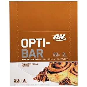 Оптимум Нутришэн, Opti-Bar High Protein Bar, Cinnamon Pecan, 12 Bars, 2.1 oz (60 g) Each отзывы покупателей