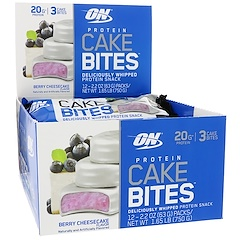 Optimum Nutrition, Protein Cake Bites, Berry Cheesecake, 12 Bars, 2.2 oz (63 g) Each