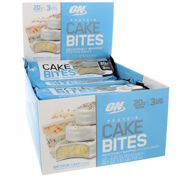 Optimum Nutrition, Protein Cake Bites, Birthday Cake, 12 Bars, 2.22 oz (63 g) Each