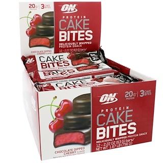 Optimum Nutrition, Protein Cake Bites, Chocolate Dipped Cherry Flavor, 12 Bars, 2.22 oz (63 g) Each