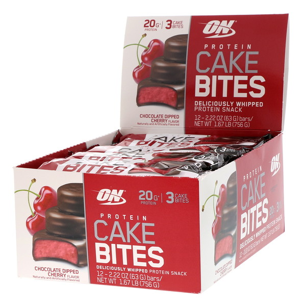Optimum Nutrition, Protein Cake Bites, Chocolate Dipped Cherry, 12 Bars, 2.22 oz (63 g) Each