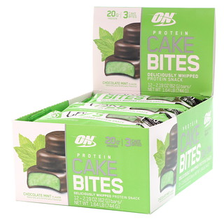 Optimum Nutrition, Protein Cake Bites, Chocolate Mint, 12 Bars, 2.19 oz (62 g) Each