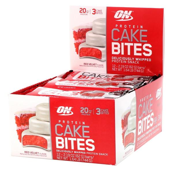 Optimum Nutrition, Protein Cake Bites, Red Velvet, 12 Bars, 2.19 oz (62 g) Each (Discontinued Item)