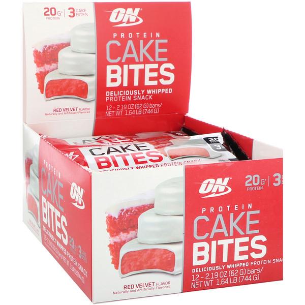 Optimum Nutrition, 蛋白蛋糕點心,紅色天鵝絨風味,12條,每條2、19盎司(62克)