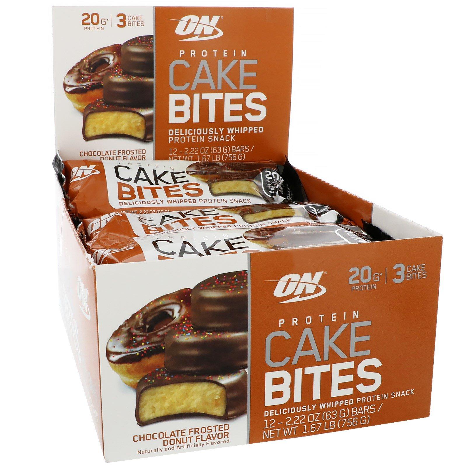 Optimum Nutrition, Протеиновые десерты, в шоколаде, со вкусом пончика, 12 штук по 2,22 унции (63 г)