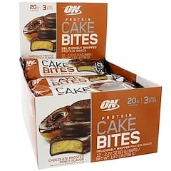 Optimum Nutrition, Protein Cake Bites, Chocolate Frosted Donut, 12 Bars, 2.22 oz (63 g) Each