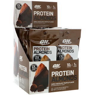 Optimum Nutrition, Protein Almonds, Dark Chocolate Truffle, 12 Packets, 1.5 oz (43 g) Each