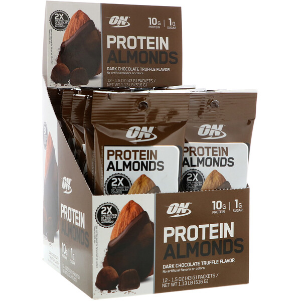 Protein Almonds, Dark Chocolate Truffle, 12 Packets, 1.5 oz (43 g) Each
