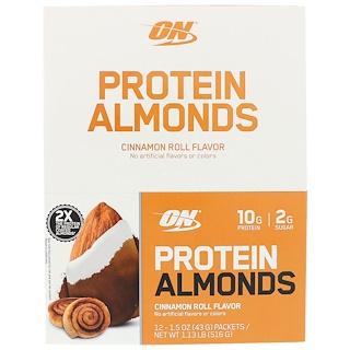 Optimum Nutrition, Protein Almonds, Cinnamon Roll, 1.5 oz (43 g) 12 Packets