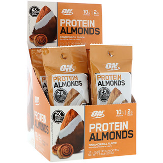 Optimum Nutrition, Protein Almonds, Cinnamon Roll, 12 Packets, 1.5 oz (43 g) Each