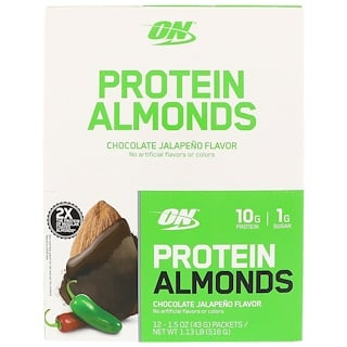 Optimum Nutrition, Protein Almonds, Chocolate Jalapeno, 12 Packets, 1.5 oz (43 g) Each