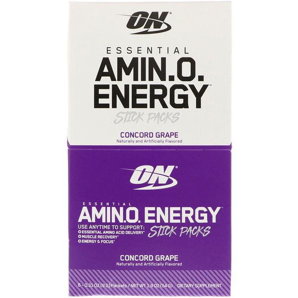 Optimum Nutrition, Essentielle Amino-Energie, Concord-Traube, 6 Stick-Päckchen, je 0,31 oz (9 g)