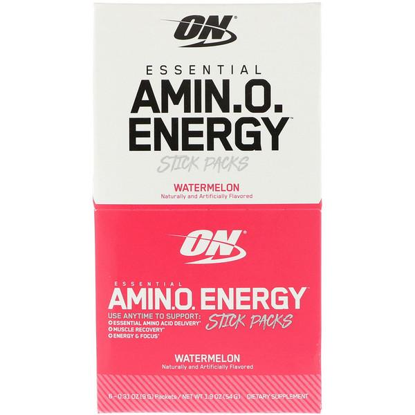 Optimum Nutrition, 必須アミノエネルギー、スイカ、スティックパック6個、各 0.31 oz (9 g) (Discontinued Item)