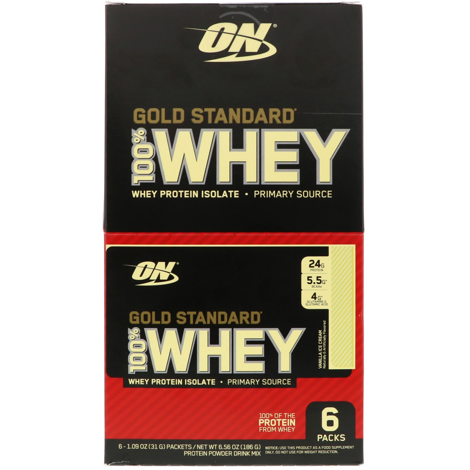 Optimum Nutrition Gold Standard 100 Whey Vanilla Ice Cream 6 Packs