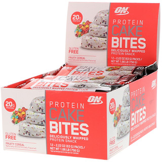 Optimum Nutrition, Protein Cake Bites, Fruity Cereal, 12 Bars, 2.22 oz (63 g) Each