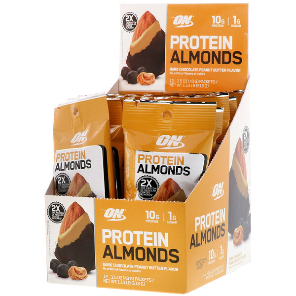 Optimum Nutrition, Protein Almonds, Dark Chocolate Peanut Butter, 12 Packets, 1.5 oz (43 g) Each