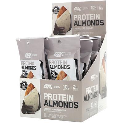 Купить Optimum Nutrition Protein Almonds, Cookies & Creme, 12 Packets, 1.5 oz (43 g) Each