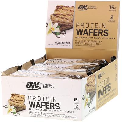 Купить Optimum Nutrition Протеиновые вафли, ванильный крем, 9упаковок, 40г (1, 42унции) каждая