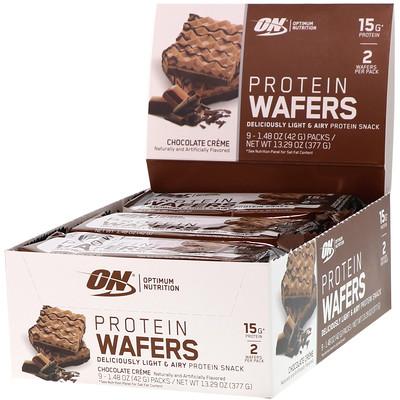 Купить Optimum Nutrition Протеиновые вафли, шоколадный крем, 9упаковок, 42г (1, 48унции) каждая