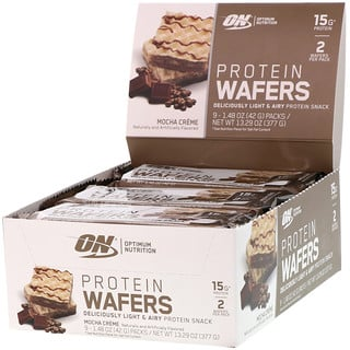 Optimum Nutrition, Protein Wafers, Mocha Creme, 9 Packs, 1.48 oz (42 g) Each