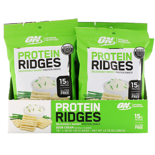 Optimum Nutrition, Protein Ridges, Sour Cream, 10 Bags, 1.38 oz (39 g) Each