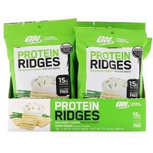 Оптимум Нутришэн, Protein Ridges, Sour Cream, 10 Bags, 1.38 oz (39 g) Each отзывы